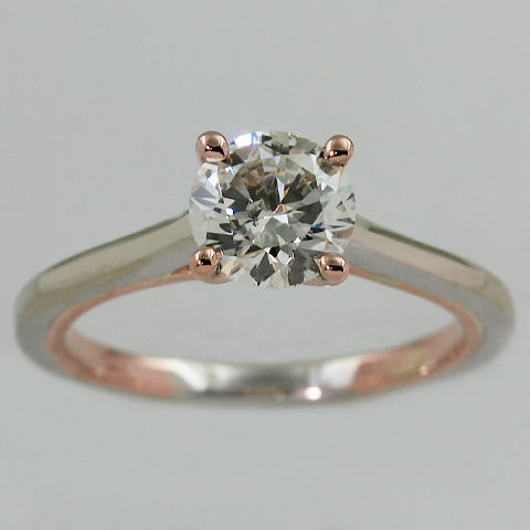 14kt Two Tone Solitaire Engagement Ring