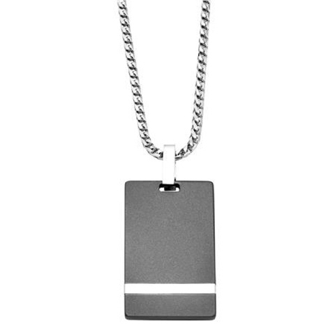 Artcarved Tungsten Raw and White Gold Dog Tag