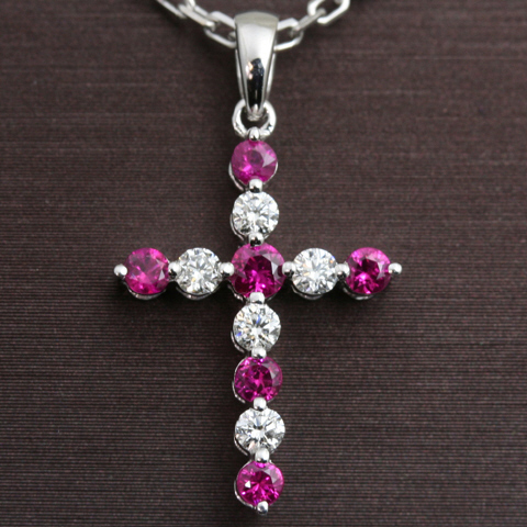 18k Diamond and Ruby Cross