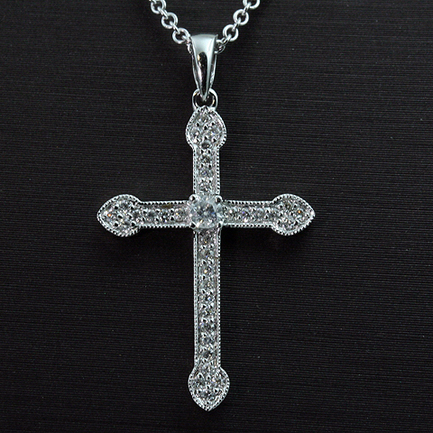 14kt White Gold Diamond Cross