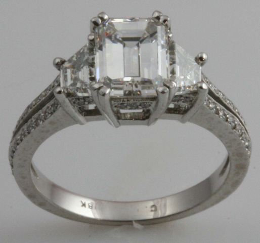 18kt Emerald Cut Engagement Ring
