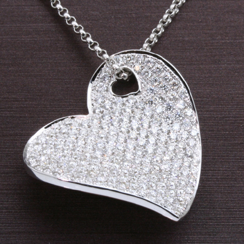 14kt White Gold Diamond Pave Heart Pendant