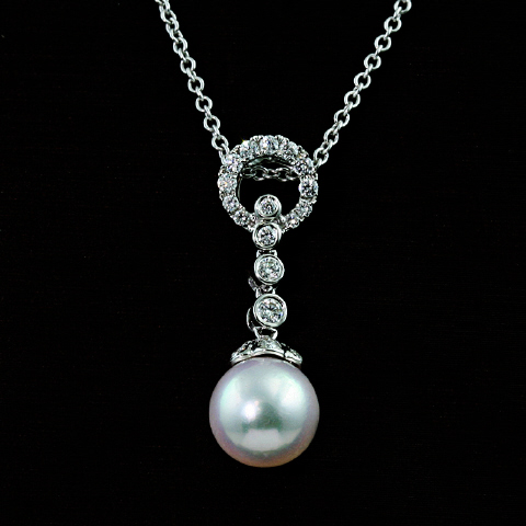18kt Diamond and Pearl Pendant