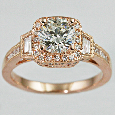 18kt Diamond Halo Engagement Ring