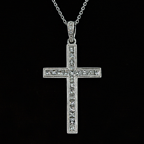 18kt Diamond Cross