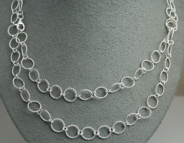 Sterling Silver 40 inch Small Circle Necklace