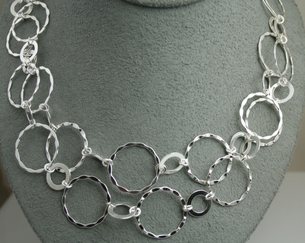 Sterling Silver Multi-Circle 40 Inch Necklace